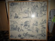 "VERY LARGE BLUE PRINT ON LINEN RENAISSANCE FRENCH ? VILLAGE SCENES 36"" SQUARE"